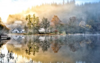 water,fog,landscapes,morning,lakes,houses
