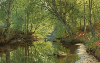 1896,Peder Mørk Mønsted,Danish realist painter,датский живописец,Петер Мёрк Мёнстед,Forest stream,лесной ручей