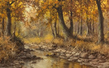 Laszlo Neogrady,Hungarian painter,венгерскийй живописец,Ласло Неогради,Осенний пейзаж с рекой,Autumn landscape with river