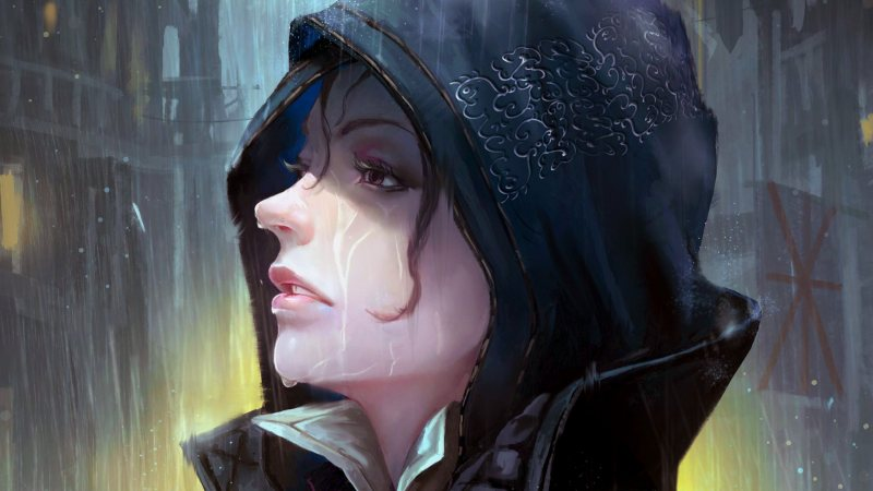 purple eyes,evie frye,fantasy,Face,digital art,wet face,hood,girl,looking away,Assasin's Creed,Assassin's Creed Syndicate,mouth,artwork,fantasy art,wet,rain,game