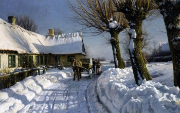Зима в Херстедвестре,Winter in Herstedvester,Петер Мёрк Мёнстед,1923-24,Danish realist painter,датский живописец,Peder Mørk Mønsted