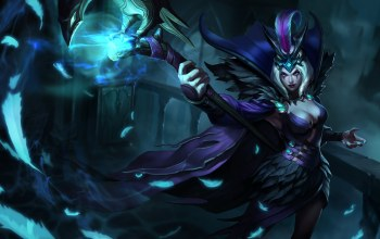 artwork,перья,Лига Легенд,Ravenborn,Ле Блан,Leblanc,league of legends,splash,посох