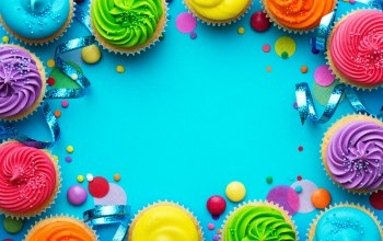 кексы,happy birthday,крем,decoration,colorful,candle,Colours,Cupcake,rainbow,celebration,день рождения,cake,cream