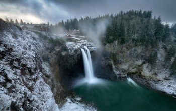 waterfall,washington,winter,Snoqualmie Falls