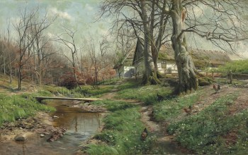датский живописец,1904,Peder Mørk Mønsted,Усадьба у реки,Danish realist painter,Farmstead by a river,Петер Мёрк Мёнстед
