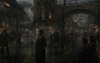 victorian,street,1800,london,paint,town,steampunk,landscape,old,Panting,1900,environment,Old Architecture