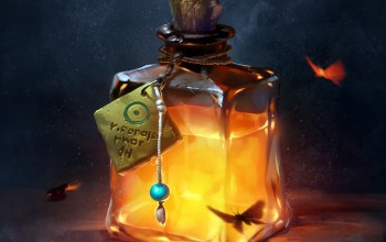 artwork,fantasy art,digital art,fire,Bottle,fantasy,Potion,butterflies,liquid