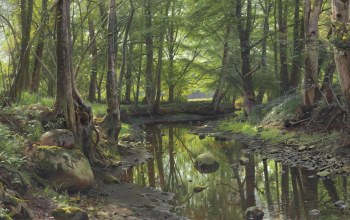 лесной ручей,Peder Mørk Mønsted,Петер Мёрк Мёнстед,1925,A Stream in the Forest,датский живописец,Danish realist painter