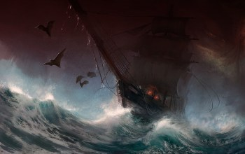 storm,sail,bats,sailboat,digital art,rain,dark,painting,artwork,fantasy,stormy sea