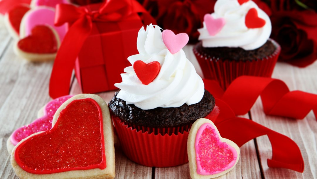 кексы,sweet,сердечки,Cupcake,Valentine's Day,Red
