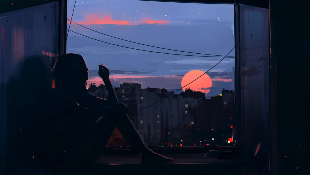 buildings,Sunset,barefoot,feeling,Window,silhouette,evening,dark,thinking,mood,painting art,smoking,digital art,sitting,artwork,Twilight,aenami,girl,cigarette