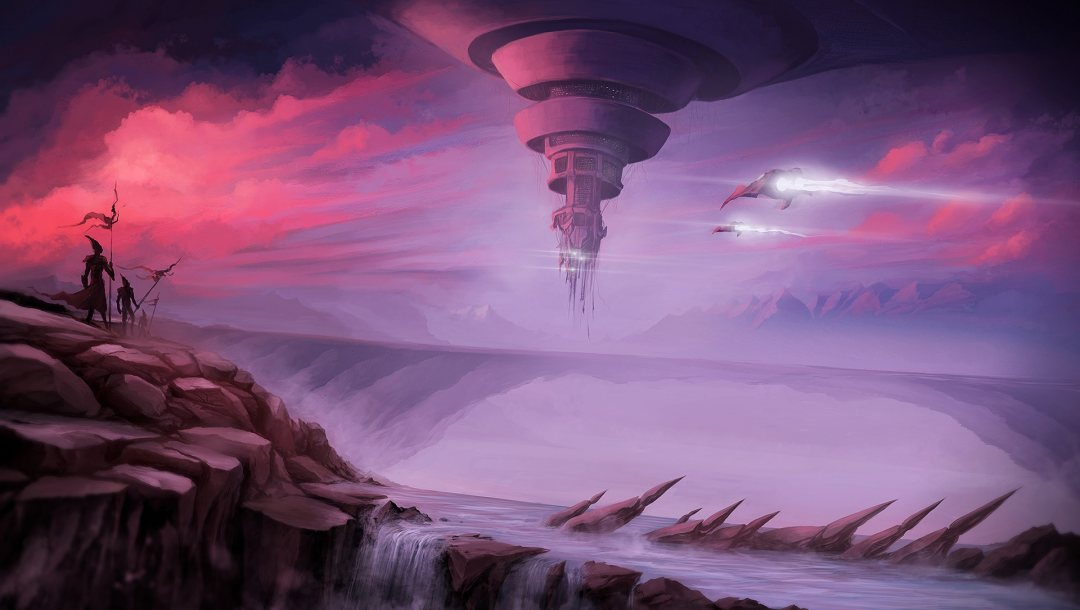 Sunset,spaceships,futuristic,science fiction,digital art,river,sci-fi,aircraft,fantasy,Twilight,arms,fantasy art,waterfalls,spears,clouds,rocks,Aliens,artwork,sky