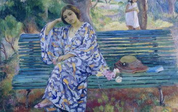 картина,Анри Лебаск,скамья,жанровая,Young Woman Seated on a Bench
