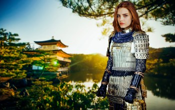 young,outdoors,palace,posing,light,fashion,Epic,fantasy,summer,Sight,cute,girl,warm,forest,pretty,female,wind,river,armor,trees,portrait,look,mood