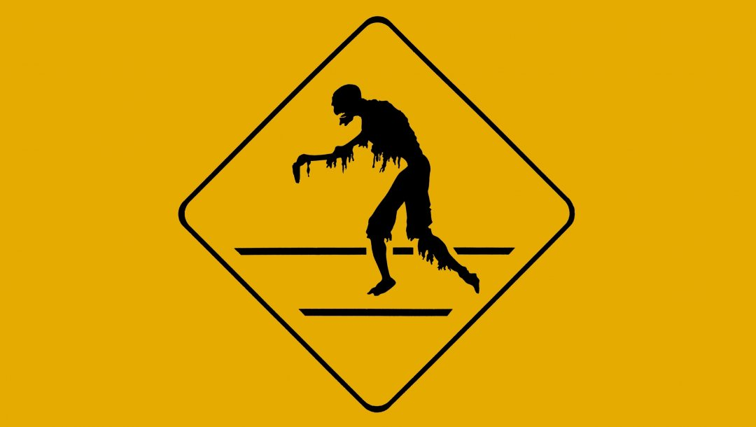 Danger,poster,Zombie,silhouette,yellow