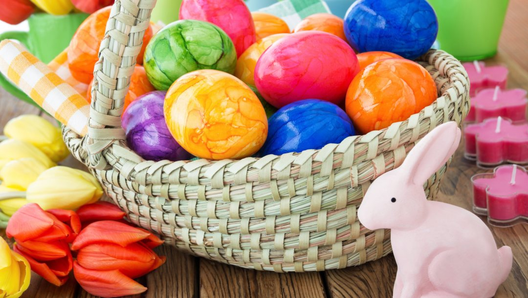 Весна,spring,colorful,happy,tulips,decoration,Easter,eggs,яйца крашеные,корзина,цветы