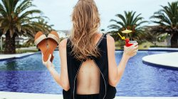 vacation,drink,hair,palm trees,back,Pool,girl,hotel,sandals