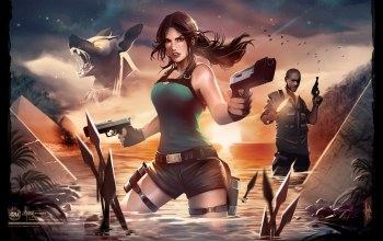 tomb raider,шорты,lara croft,пистолеты,Вода
