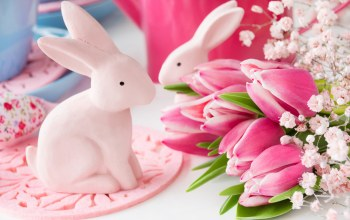 tulips,decoration,Весна,bunny,Easter,delicate,цветы,eggs,spring,pastel,happy