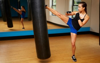 Kick,girl kick boxing,mirror