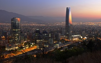 The Costanera Center Torre 2,Cityscape,dusk,Gran Torre Santiago,urban scene,Santiago,mountains,chile,downtown,Titanium La Portada,Twilight,Torre Gran Costanera,Sunset,South America