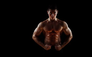 pose,penetrating gaze,abdominals,wide pectorals,muscular,bodybuilder,sweat