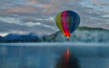 sunrise,hill,mountains,fog,balloon,morning,clouds,Extreme Sport