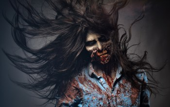 dirt,Zombie,woman,makeup,scary,blood