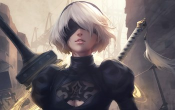 destruction,birthmark,ps4,yorha,beautiful,girl,game,town,assistant,White,Factory,square enix,bandage,katana,Nier,Automata,nier: automata,sword,white hair