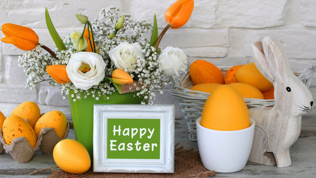 decoration,yellow,spring,цветы,tulips,яйца крашеные,happy,Easter,eggs