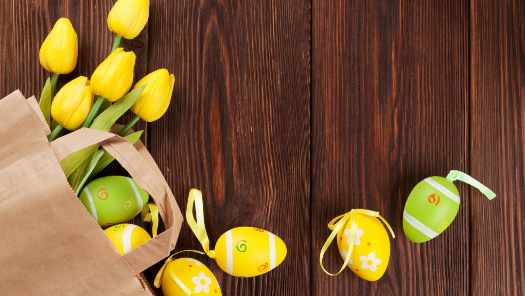 decoration,happy,yellow,tender,tulips,eggs,spring,wood,Easter