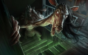 stairs,horse,humanoid creature,demoniac,creepy