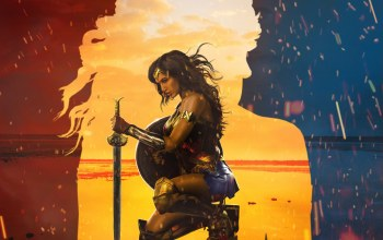 flame,gal gadot,movie,Batman v superman dawn of justice,blade,spark,League of Justice,sword,gauntlet,wonder woman,dc comics,suna,beach,sand,cinema,Themyscira,fire,shield,brunette,film,armor