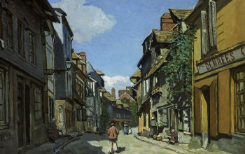 городской пейзаж,дома,Клод Моне,картина,улица,The Street of Bavolle at Honfleur