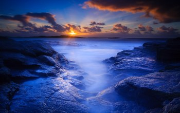 dawn,rocks,blue,beach
