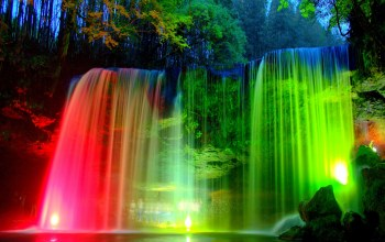 light,colorful,waterfall