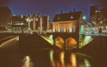 Fleetschlösschen,lights,architecture,Germany,outdoor,Brooktorkai,long exposure,Hamburg