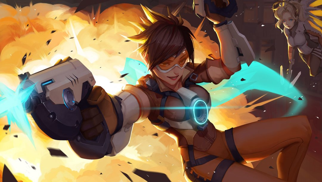 mercy,Tracer,overwatch,game,blizzard entertainment