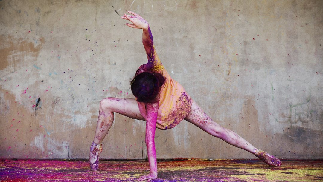 moving,movement,Ballerina,colourful,happiness,powder paint,happy,Ballet,colour,action
