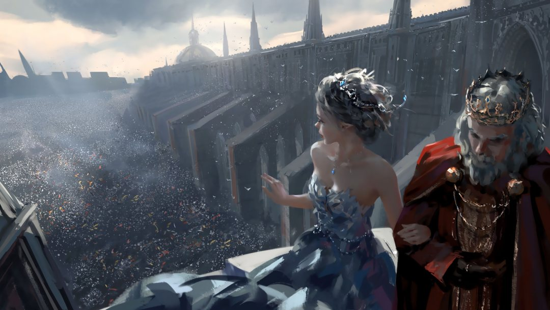king,artwork,girl,crowd,church,elf,cathedral,dress,fantasy art,ghostblade,Tiara,Cloak,fantasy,sapphire,strapless,digital art,princess,crown,pointed ears,bare shoulders,necklace,dome,wlop