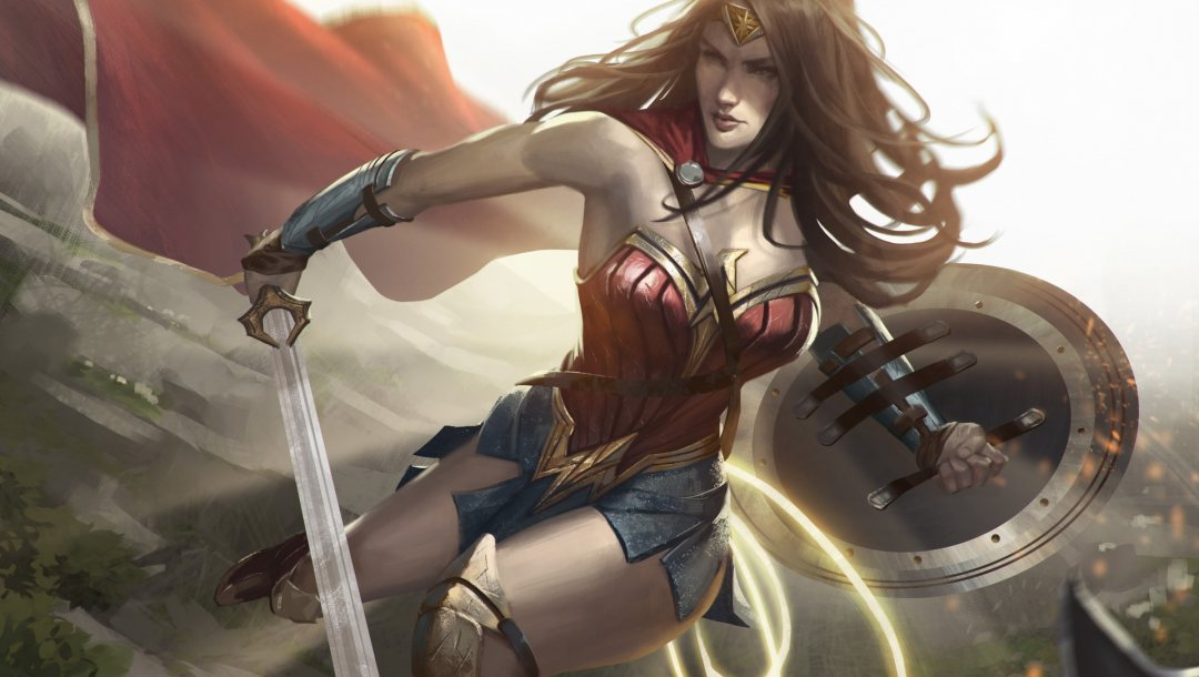 костюм,рисунок,диана,герой,wonder woman,hero,амазонка,Johnathan Chong,brunette,cape,sword,hair,costume,комиксы,Защитные браслеты,illustrator,плащ,Художник,superhero,shield,щит,Lasso of Truth,Tiara,Чудо-женщина,супергерой,Лассо Истины,dc comics