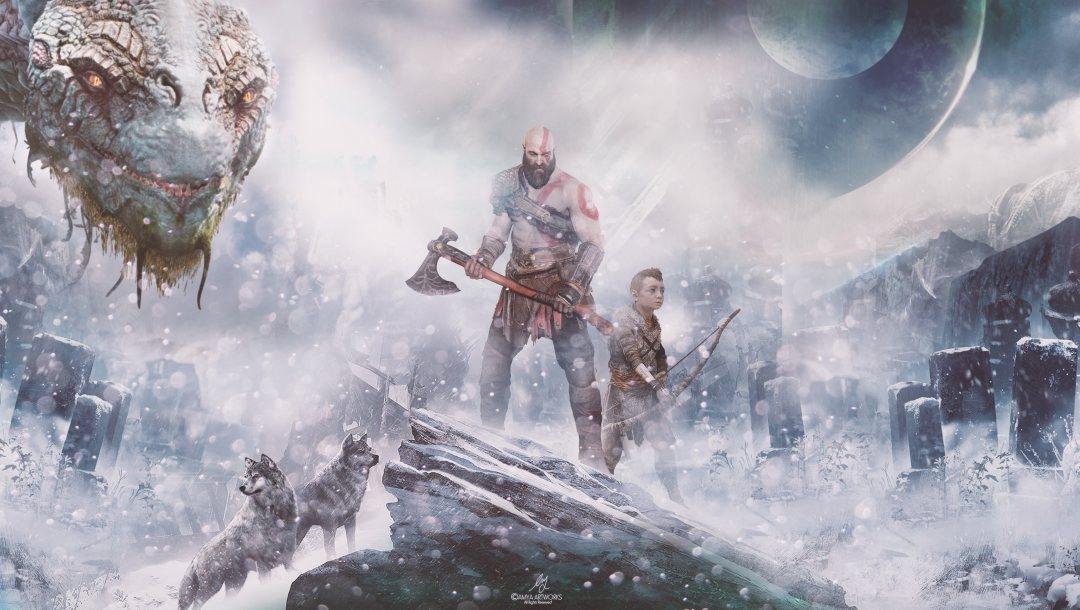 God of war,Jormungandr,Red,Weaons,boulders,action,armor,fog,adventure,Jormungandr,wars,rocks,ps4,war,tatoo,2018,Axe,armored,snow,Linear,Atreus,game,boy,winter,arrow,playstation,wolves,dragon,wind,warriors,son,playstation 4,Hatchet,tattoo,year,sony,bow,wolf,Videogame,father,stones,God of War PS4,gameplay,Kid,gods,fantasy