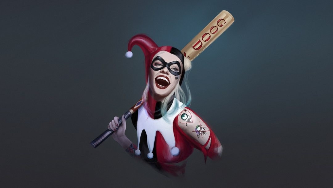 DC art,Marcia Oliveira,харли квинн,by Marcia Oliveira,harley quinn,old school,by Marcia Oliveira,Comic Art,dc comics,улыбка,бита,Marcia Oliveira
