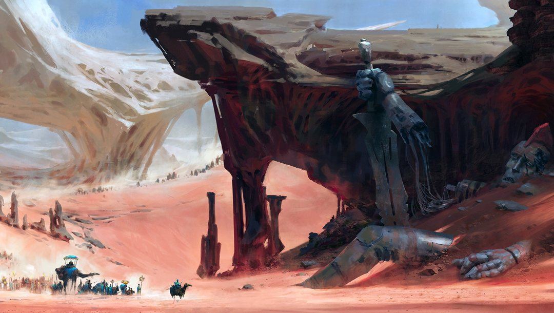 rocks,rock formations,camels,caravan,giant,fantasy art,people,sword,artwork,robot,digital art,wreckage,sand,fantasy,desert