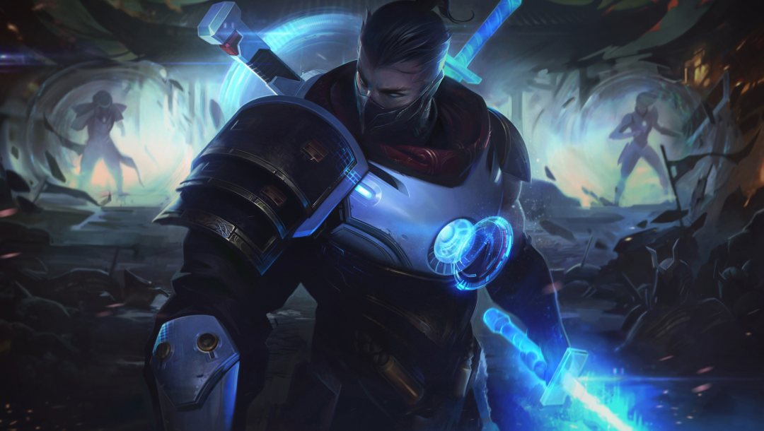 pulsefire,Лига Легенд,клинки,портал,Шен,artwork,splash,косичка,league of legends,маска,ниндзя
