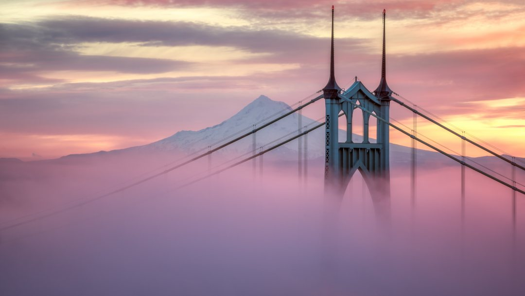 arch,city,usа,peak,bridge,architecture,mist,pylon,Twilight,cables,snow,mountain,portland,united states of america,St Johns bridge,evening,Sunset