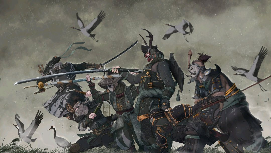 самураи,swords,warriors,rain,armor,ninjia,fantasy,katana,blades,weapons,helmet,Birds,digital art,artwork,fantasy art,mask
