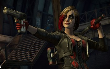 gloves,комиксы,telltale games,game,dc comics,харли квинн,Batman: The Enemy Within,Screenshot,hair,harley quinn,пушка,злодейка,пистолет,корсет,weapon,молот,Villain,gun,скриншот,Corset,Episode 3: Fractured Mask,перчатки