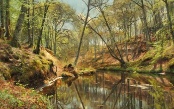 Весенний день в лесу Себю,A spring day in the forest at Sæby,Peder Mørk Mønsted,1897,Danish realist painter,Петер Мёрк Мёнстед,датский живописец