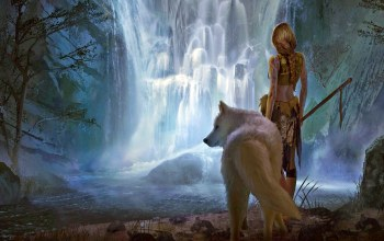 forest,tattoos,girl,river,Animal,digital art,braid,white wolf,landscape,waterfall,blonde,wolf,artwork,spear,weapon,fantasy art,back,fantasy